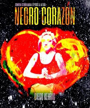 Negro corazón cuadrado fuego cosmos